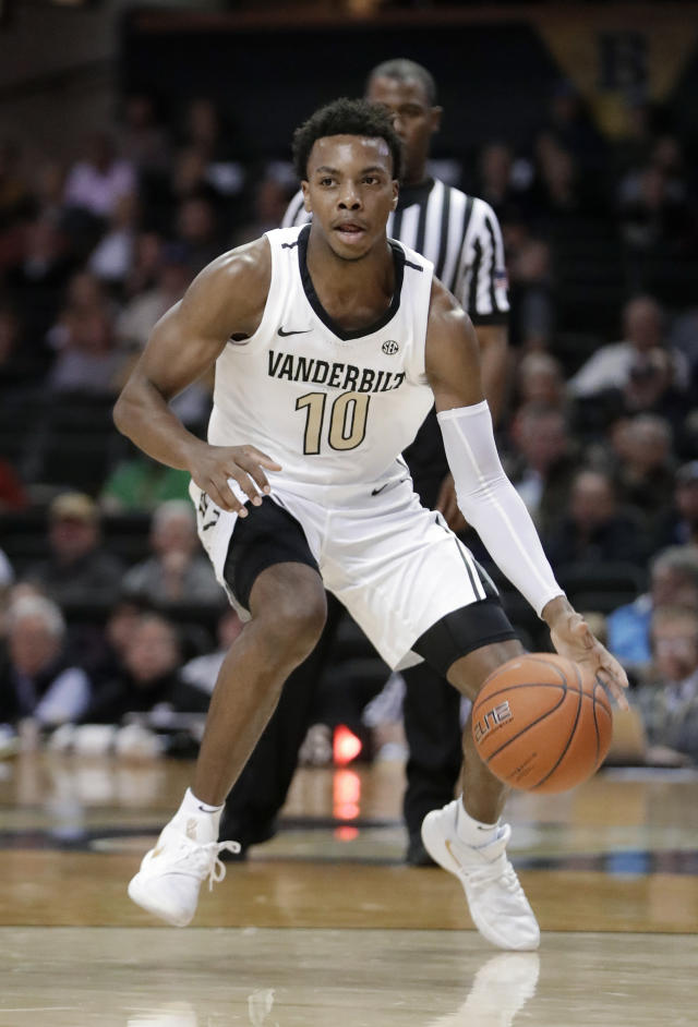 FILE - In this Nov. 16, 2018, file photo, Vanderbilt guard Darius Garland brings the ball up against Alcorn State during an NCAA college basketball game in Nashville, Tenn. Ja Morant, Darius Garland and Coby White make up a clear top tier of point guards in next week's NBA draft, though one has barely played in the past year. (AP Photo/Mark Humphrey, File)