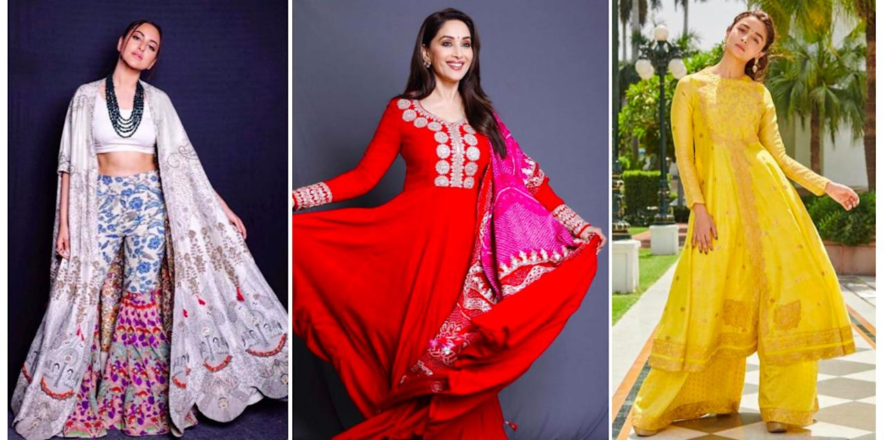 <p>Sonakshi Sinha, Madhuri Dixit and Alia Bhatt's best outfits for the promotions of 'Kalank'. </p>