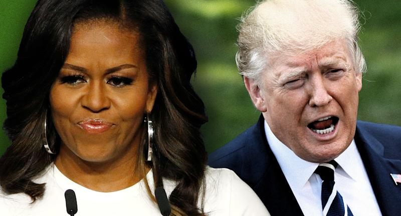 Michelle Obama and President Donald Trump. (Photo illustration: Yahoo News; photos: AP, Leah Mills/Reuters)