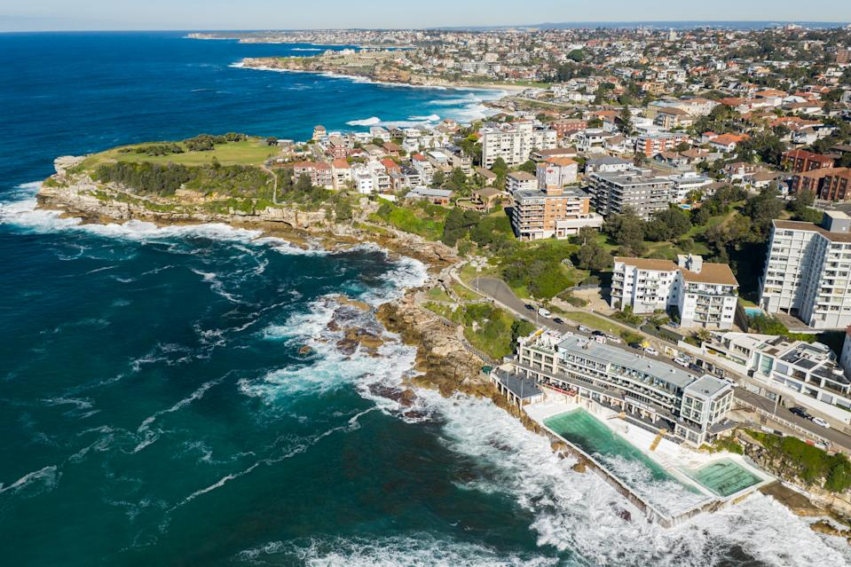 Coastline along Sydney's Eastern Suburbs, Australia.  The view looking south including Bondi, Tamarama and Bronte suburbs