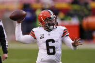 Cleveland Browns quarterback Baker Mayfield throws a pass during the second half of an NFL divisional round football game against the Kansas City Chiefs, Sunday, Jan. 17, 2021, in Kansas City. (AP Photo/Charlie Riedel)