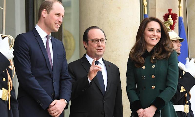 William and Kate, the Duke and Duchess of Cambridge, are greeted by President François Hollande at the Elysée Palace in Paris, France.