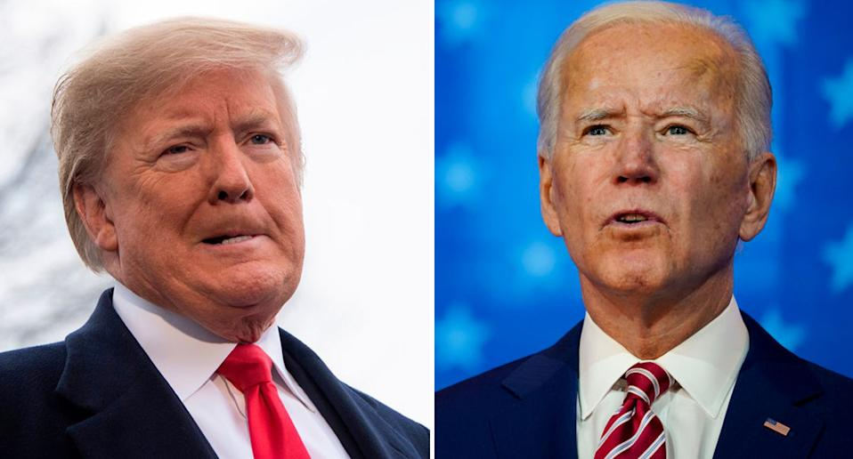 Donald Trump and Joe Biden, pictured, will see the election result unfold today.