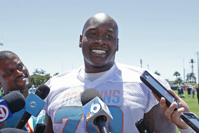 "A Thursday report says Miami Dolphins players would ""revolt"" if the team traded OT Laremy Tunsil. (Getty Images)"