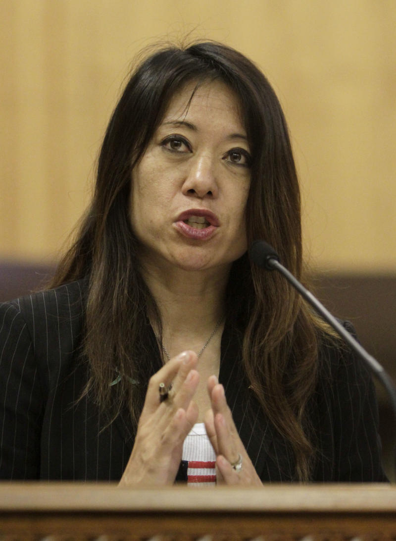Assemblywoman Fiona Ma, D-San Francisco, urges lawmakers to approve her measure to increase the pay of the harbor pilots who navigate massive cargo ships through San Franciso Bay, during a hearing at the Capitol in Sacramento,  Calif., Tuesday, June 14, 2011. The bill would raise the annual salary from about $400,000 annually. The Pacific Merchant Shipping Association contends San Francisco Bay's pilots are among the best paid in the industry and that any increase will hurt Northern California ports' competitiveness. (AP Photo/Rich Pedroncelli)