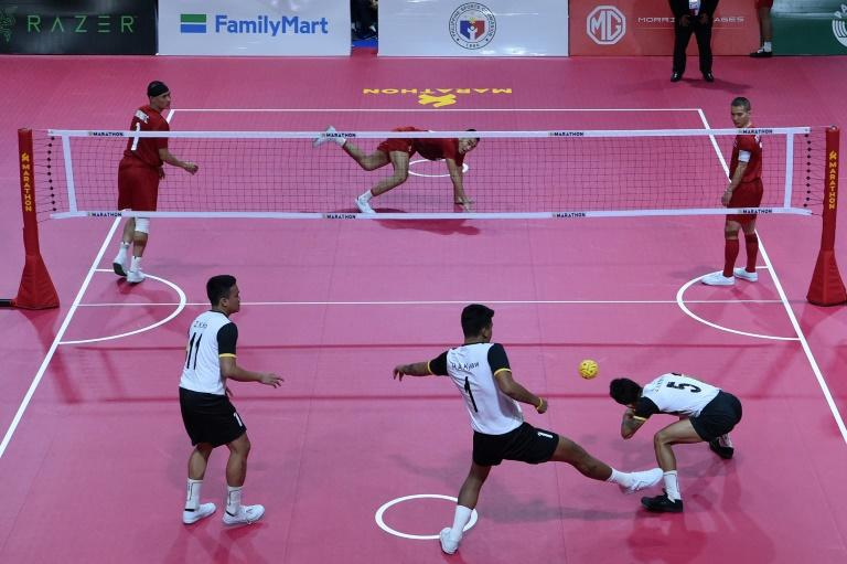 Sepak takraw involves players keeping a rattan ball from touching the ground and launching it over the 1.52-metre high net