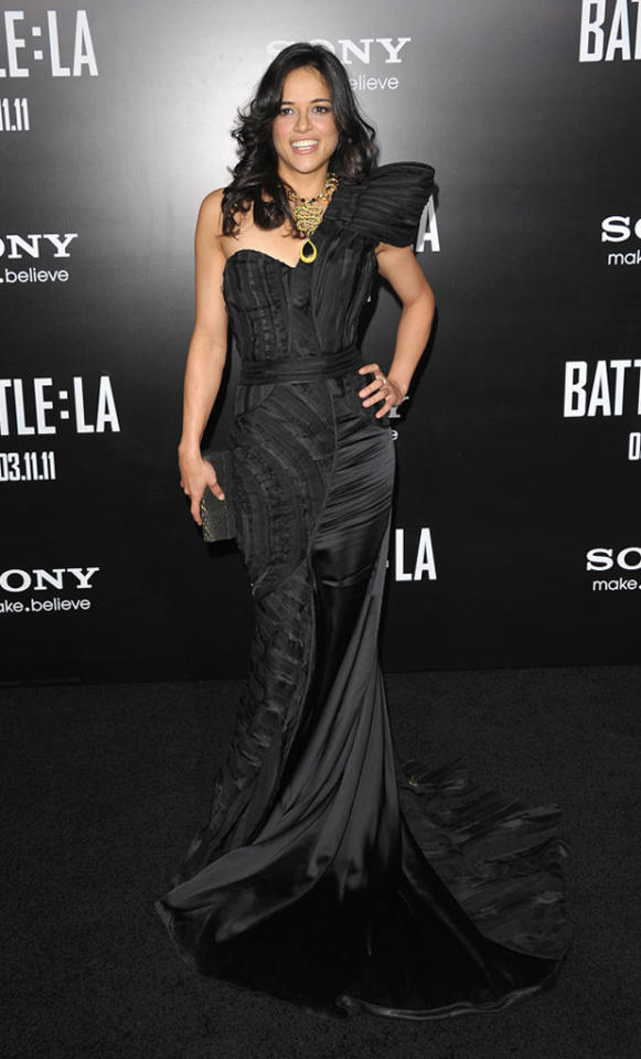 """<a href=""""http://movies.yahoo.com/movie/contributor/1800354386"""">Michelle Rodriguez</a> at the Los Angeles premiere of <a href=""""http://movies.yahoo.com/movie/1810119633/info"""">Battle: Los Angeles</a> on March 8, 2011."""
