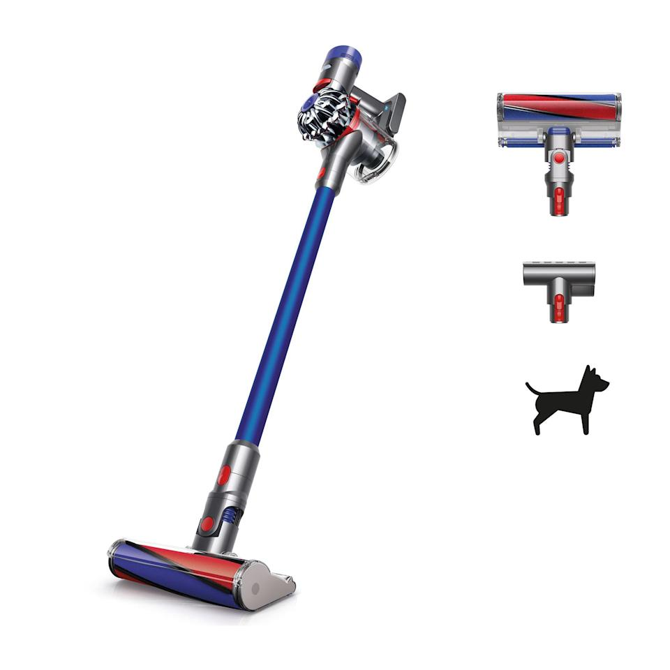 """<p><strong>Dyson</strong></p><p>walmart.com</p><p><strong>$329.00</strong></p><p><a href=""""https://go.redirectingat.com?id=74968X1596630&url=https%3A%2F%2Fwww.walmart.com%2Fip%2F762736520%3Fselected%3Dtrue&sref=https%3A%2F%2Fwww.popularmechanics.com%2Fhome%2Fg37679919%2Fbest-dyson-vacuums%2F"""" rel=""""nofollow noopener"""" target=""""_blank"""" data-ylk=""""slk:Shop Now"""" class=""""link rapid-noclick-resp"""">Shop Now</a></p><p>For those with a smaller budget, the Dyson V7 Hard Floor Vacuum is one of the brand's more affordable picks, yet it still delivers the suction and reliability you'd expect from a Dyson. It offers up to 30 minutes of fade-free suction and features two power modes, and it quickly transforms into a handheld model when you need to touch up furniture or vacuum your card. </p><p>The V7 has a soft roller cleaner head that captures both large debris and dust from all types of hard floors, and it also comes with a combination tool and crevice tool for versatility. However, it doesn't include a regular beater head, so it's not ideal for cleaning carpeting.</p>"""