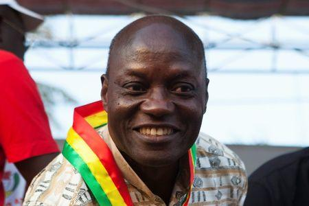 Presidential candidate Jose Mario Vaz attends a campaign rally in Bissau