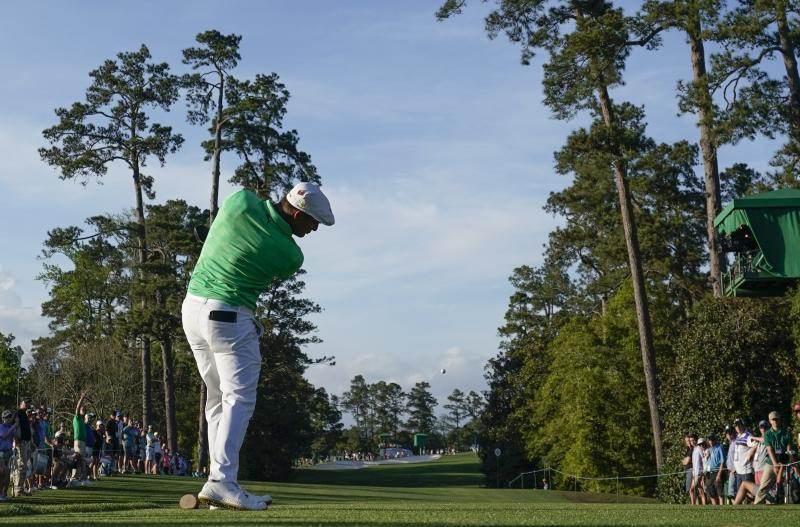 Bryson DeChambeau hits a drive on the 18th hole during the first round for the Masters golf tournament Thursday, April 11, 2019, in Augusta, Ga. (AP Photo/David J. Phillip)