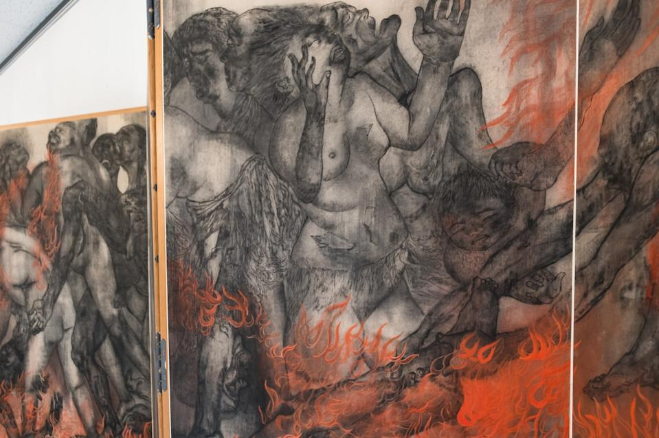 """""""Fire"""" by Toshiko and Iri Maruki, part of an art series documenting the horror of the atomic bomb, at Maruki Gallery for the Hiroshima Panels in Higashimatsuyama, Japan. <span class=""""copyright"""">(Ann Summa)</span>"""