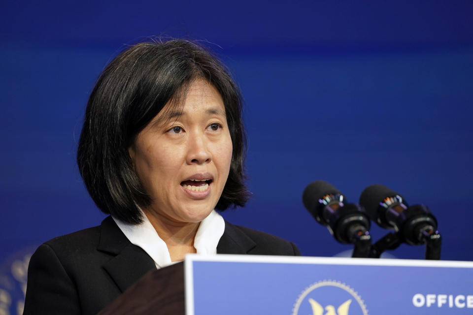 FILE - In this Dec. 11, 2020, file photo Katherine Tai, the Biden administration's choice to take over as the U.S. trade representative, speaks during an event at The Queen theater in Wilmington, Del. (AP Photo/Susan Walsh, File)
