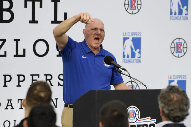 Los Angeles Clippers owner Steve Ballmer speaks at an elementary school in LA on Jan. 16, 2018. (AP/Mark J. Terrill)