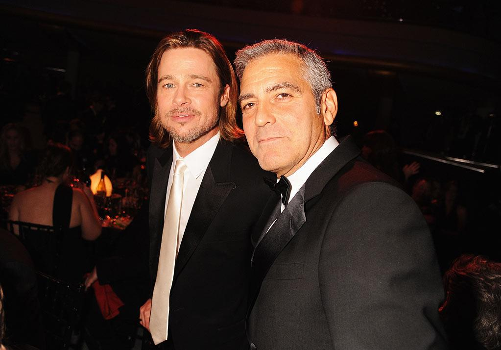 "<a href=""http://movies.yahoo.com/movie/contributor/1800018965"">Brad Pitt</a> and <a href=""http://movies.yahoo.com/movie/contributor/1800019715"">George Clooney</a> at the 17th Annual Critics' Choice Awards reception in Hollywood on January 12, 2012."