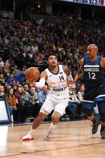 DENVER, CO - APRIL 10: Gary Harris #14 of the Denver Nuggets drives to the basket against the Minnesota Timberwolves on April 10, 2019 at the Pepsi Center in Denver, Colorado. (Photo by Garrett Ellwood/NBAE via Getty Images)