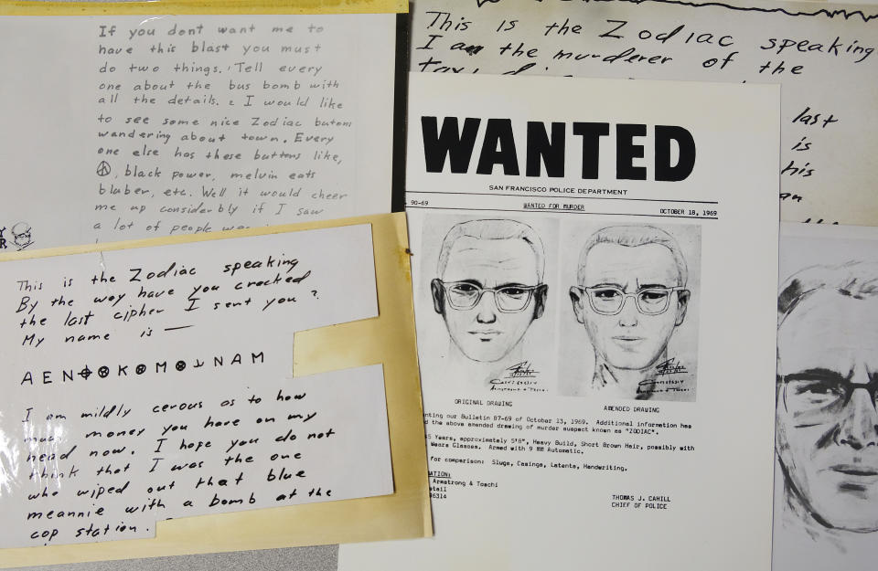 A San Francisco Police Department wanted bulletin and copies of letters sent to the San Francisco Chronicle by a man who called himself Zodiac are displayed in San Francisco. Source: AP