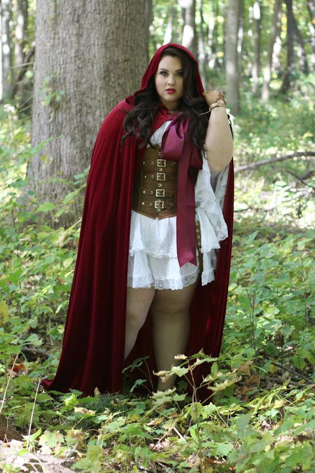 "<p>This medieval-inspired costume looks like it came straight out of a  fairy tale.</p><p><strong>Get the tutorial at <a rel=""nofollow"" href=""http://ravingsbyrae.com/2015/10/halloween-lookbook-2015-plus-size-fashion/"">Ravings by Rae</a>.</strong></p><p><strong>What you'll need:</strong> Brown corset ($20; <a rel=""nofollow"" href=""https://www.amazon.com/Bslingerie-Womens-Leather-Wetlook-Bustier/dp/B00X5C7VPC/"">amazon.com</a>), red hooded cape ($15; <a rel=""nofollow"" href=""https://www.amazon.com/MORYSONG-Costume-Halloween-Accessory-Burgundy/dp/B01KHQFWWC/"">amazon.com</a>), white dress $21; <a rel=""nofollow"" href=""https://www.amazon.com/Alfani-Womens-Crochet-Sleeves-Casual/dp/B071S8WDZN/?th=1"">amazon.com</a>)</p>"