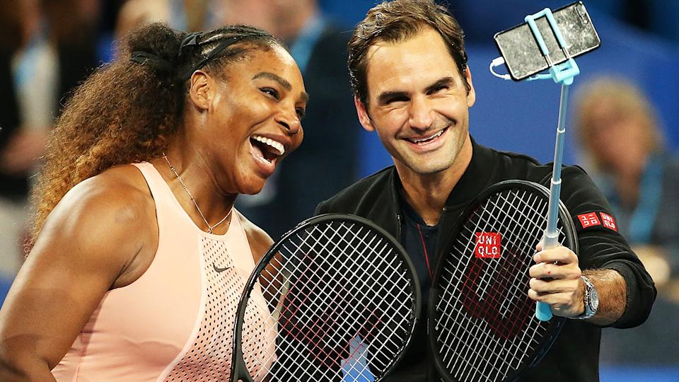 Roger Federer and Serena Williams, pictured here in action at the 2019 Hopman Cup.