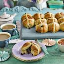 """<p>Sticky-sweet buns with a hidden gooey centre. You can of course leave out the ganache chocolate balls if you fancy a chocolate-free version.</p><p><strong>Recipe: <a href=""""https://www.goodhousekeeping.com/uk/easter/easter-recipes/a34833212/marmalade-chocolate-hot-cross-buns/"""" rel=""""nofollow noopener"""" target=""""_blank"""" data-ylk=""""slk:Marmalade and Chocolate Hot Cross Buns"""" class=""""link rapid-noclick-resp"""">Marmalade and Chocolate Hot Cross Buns</a></strong></p>"""