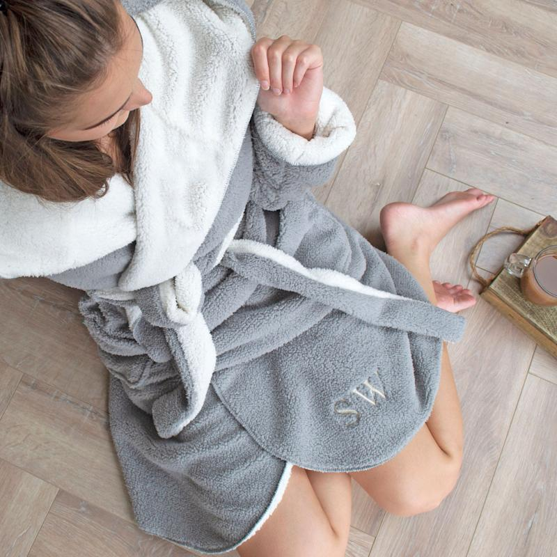 """<a href=""""https://fave.co/33SrQD7"""">Personalised Reversible Hooded Dressing Gown, Solesmith, via Not On The High Street</a>, &pound;28 (Photo: Huffington Post UK )"""