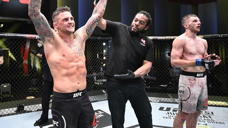 Dustin Poirier, pictured here celebrating his victory over Dan Hooker at UFC Fight Night.