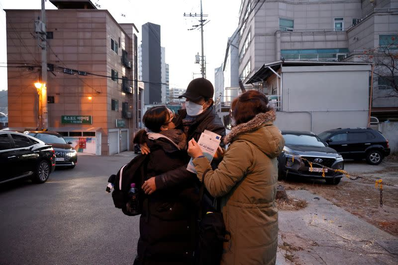 Students take the annual college entrance examinations amid the coronavirus disease (COVID-19) pandemic in Seoul