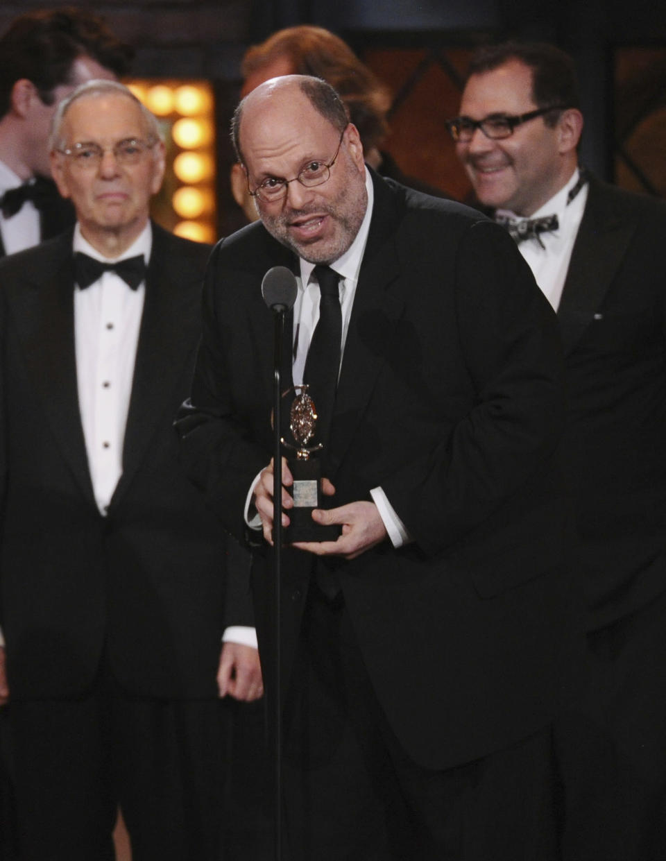 "FILE - Producer Scott Rudin accepts the award for best revival of a play for ""Skylight"" at the 69th annual Tony Awards in New York on June 7, 2015. Rudin, one of the most successful and powerful producers, with a heap of Oscars and Tonys to show for it, has long been known for his torturous treatment of an ever-churning parade of assistants. Such behavior has long been engrained — and sometimes even celebrated — in show business. (Photo by Charles Sykes/Invision/AP, File)"