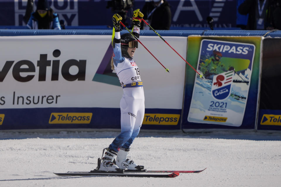 United States' Nina O Brien celebrates after competing in the first run of a women's giant slalom, at the alpine ski World Championships, in Cortina d'Ampezzo, Italy, Thursday, Feb. 18, 2021. (AP Photo/Giovanni Auletta)