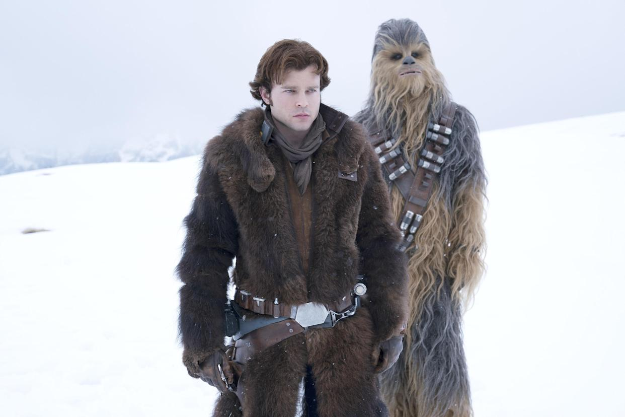 Alden Ehrenreich is Han Solo and Joonas Suotamo is Chewbacca in <em>Solo: A Star Wars Story.</em>&nbsp;(Photo: Jonathan Olley/Lucasfilm/Courtesy Everett Collection)