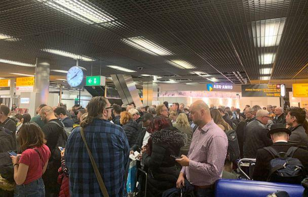 PHOTO: Passengers stand inside Amsterdam's Schiphol Airport during a security alert, Netherlands, Nov. 6, 2019, in this picture obtained from social media. (Mark Crompton via Reuters)