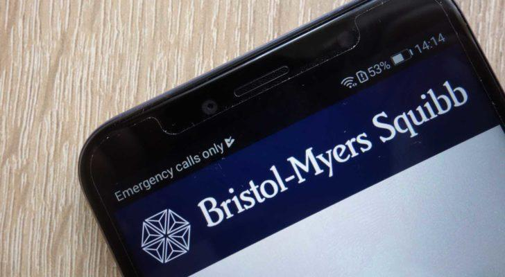 Bristol-Myers (BMY) logo at the top of a cellphone.