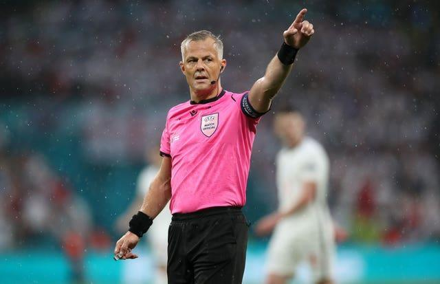Euro 2020 final referee Bjorn Kuipers, pictured, and all of the tournament officials were praised by UEFA's referees' chief