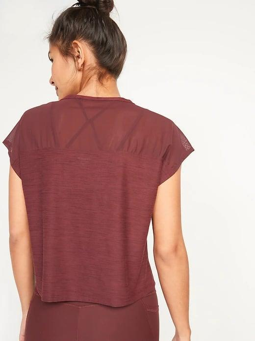 <p>This reddish-rust <span>Old Navy Loose Breathe ON Short-Sleeve T-Shirt</span> ($8, originally $20) is such a rich color for fall workouts from biking to jogging.</p>