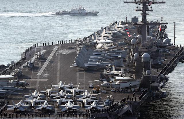 US navy strike group in Korean peninsula