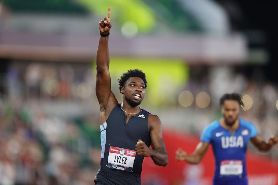 Noah Lyles reacts after winning the 200-meter final at the U.S. Olympic track and field trials at Hayward Field.