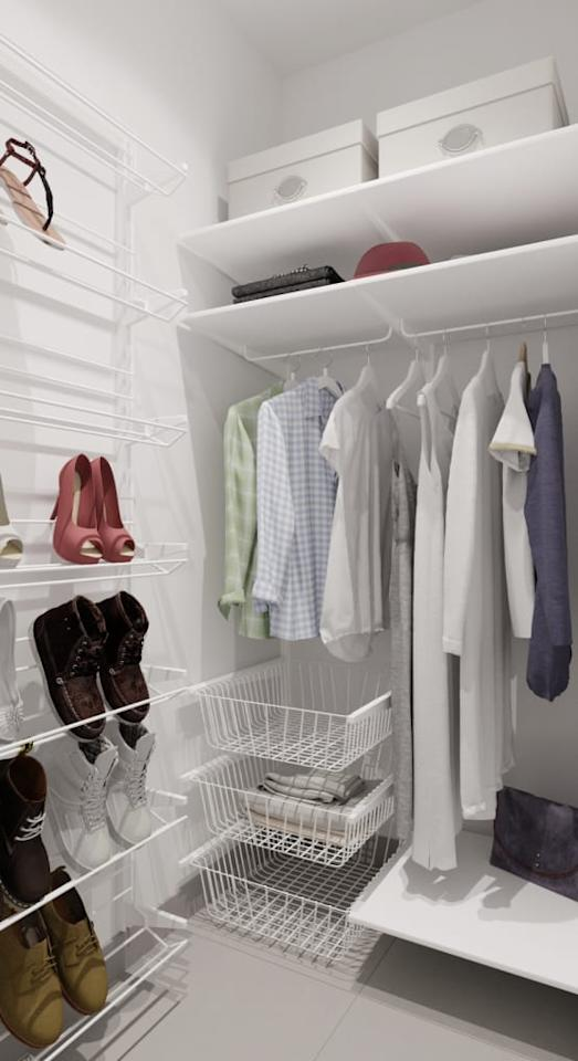 <p>Don;t just hang a few rails and install some shelves and think you're done, as your wardrobe can offer SO much more organisational potential! Shoe racks can be hung on the back of doors, blank walls can be used to store cumbersome accessories and even the floor has extra potential, if you stack boxes on it.</p>  Credits: homify / Евгения Млынчик