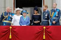 Senior royals including Harry's father Prince Charles (L) and brother Prince William (R) will attend the crisis meeting with the queen