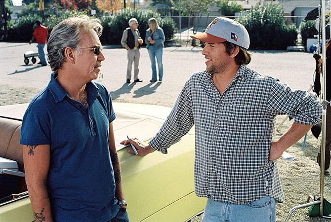 El director con Billy Bob Thornton en Bad News Bears (©Deana Newcomb/Paramount Pictures)