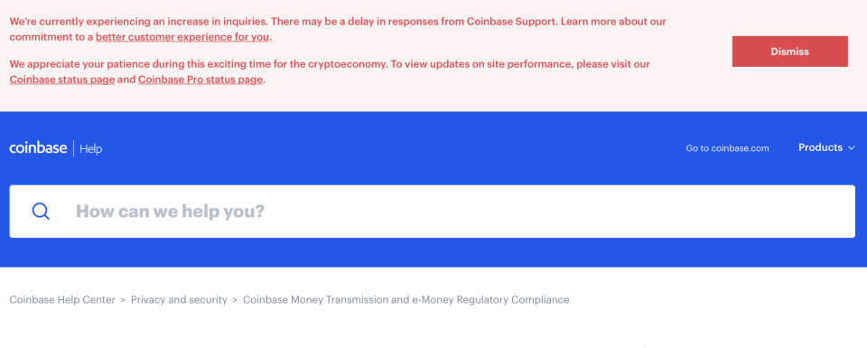 An April 14, 2021 notice from Coinbase.com's customer support page, warning of customers of anticipated service delays.