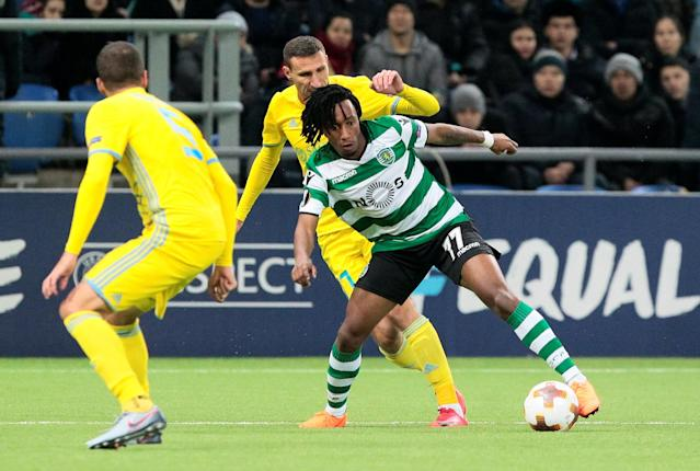 Soccer Football - Europa League Round of 32 First Leg - Astana vs Sporting CP - Astana Arena, Astana, Kazakhstan - February 15, 2018 Sporting's Gelson Martins in action with Astana's Dmitri Shomko REUTERS/Alexei Filippov