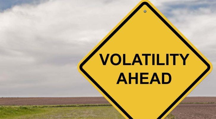 "a yellow warning sign that says ""volatility ahead"""