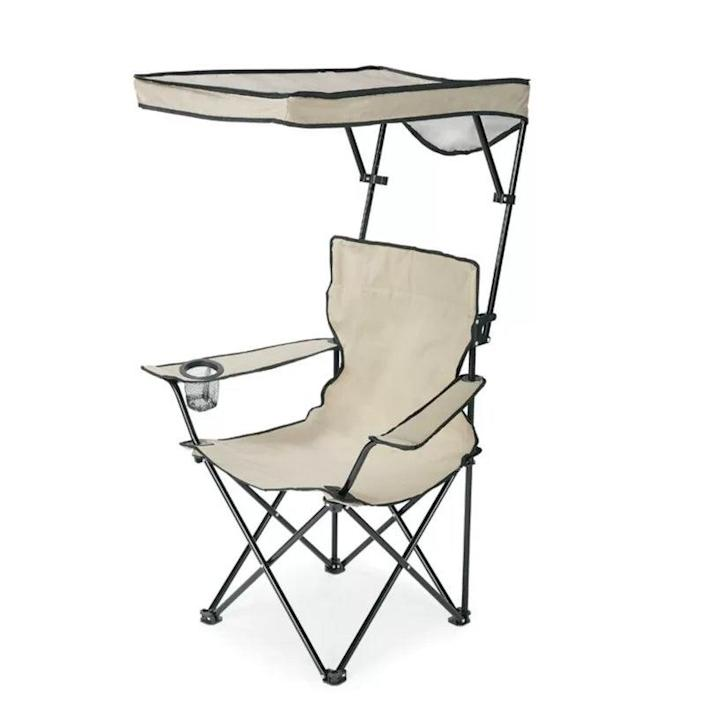 """<h2>QuikShade Adjustable Folding Camping Chair</h2><br>Protect your skin (and take a break from the heat) with the generous canopy over this seat. While there are plenty of canopy chairs out there, this one is the only we could find that features a shade which you can raise, lower, and tilt.<br><br><em>Shop<strong> <a href=""""https://www.wayfair.com/brand/bnd/quikshade-b12622.html"""" rel=""""nofollow noopener"""" target=""""_blank"""" data-ylk=""""slk:QuikShade"""" class=""""link rapid-noclick-resp"""">QuikShade</a></strong></em><br><br><strong>Quikshade</strong> Adjustable Folding Camping Chair, $, available at <a href=""""https://go.skimresources.com/?id=30283X879131&url=https%3A%2F%2Fwww.wayfair.com%2Foutdoor%2Fpdp%2Fquikshade-adjustable-folding-camping-chair-zdz10073.html"""" rel=""""nofollow noopener"""" target=""""_blank"""" data-ylk=""""slk:Wayfair"""" class=""""link rapid-noclick-resp"""">Wayfair</a>"""