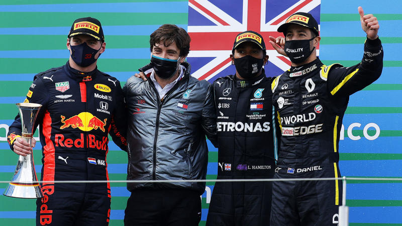 Max Verstappen, Lewis Hamilton and Daniel Ricciardo, pictured here after the Eifel Grand Prix.