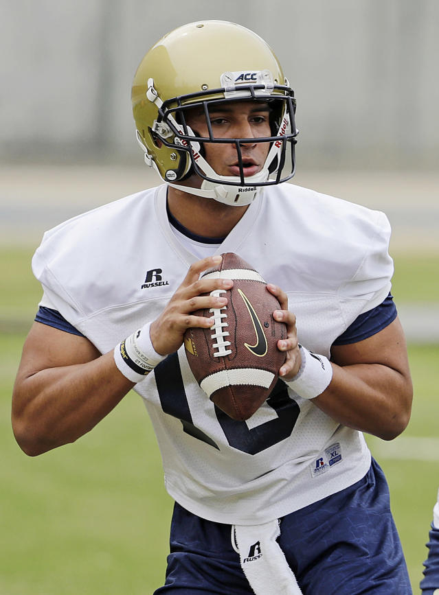 FILE - In this March 27, 2017, file photo, Georgia Tech quarterback Lucas Johnson runs a drill during an NCAA college football practice in Atlanta. Johnson has emerged as the favorite to start at quarterback after missing all of last season with a foot injury.(AP Photo/David Goldman, File)