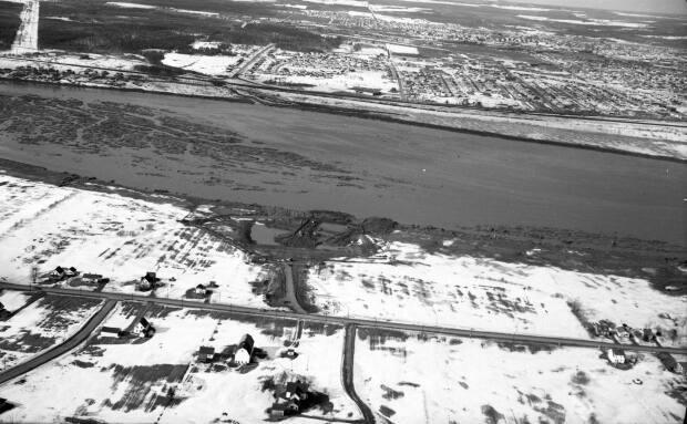 An aerial view of construction of the Petitcodiac River causeway linking Moncton and Riverview looking north toward the city on May 8, 1966.