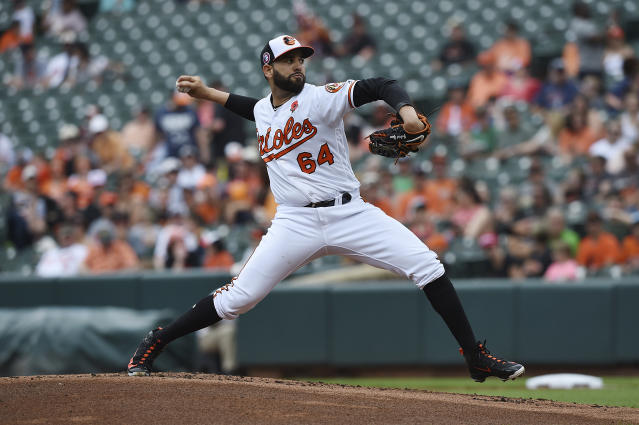 Baltimore Orioles pitcher Gabriel Ynoa throws against the Detroit Tigers in the first inning of a baseball game Monday, May 27, 2019, in Baltimore, Md. (AP Photo/Gail Burton)