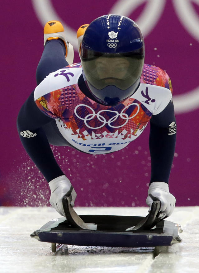 Elizabeth Yarnold of Great Britain starts her first run during the women's skeleton competition at the 2014 Winter Olympics, Thursday, Feb. 13, 2014, in Krasnaya Polyana, Russia. (AP Photo/Dita Alangkara)