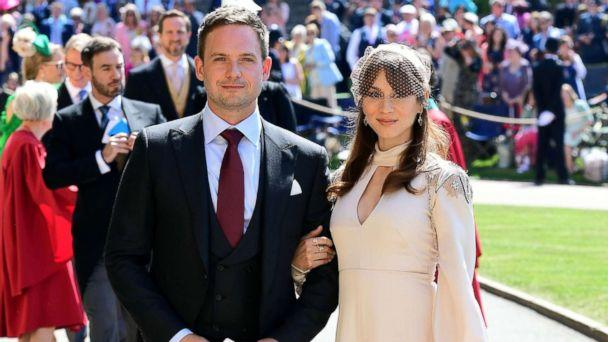 PHOTO: Meghan Markle's friend, actor Patrick J. Adams and wife Troian Bellisario arrive for the wedding ceremony of Britain's Prince Harry, Duke of Sussex and US actress Meghan Markle at St George's Chapel, Windsor Castle, in Windsor, May 19, 2018. (Ian Westian/AFP/Getty Images)