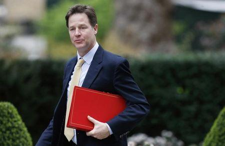 Britain's Deputy Prime Minister Clegg arrives for a cabinet meeting at 10 Downing Street in London