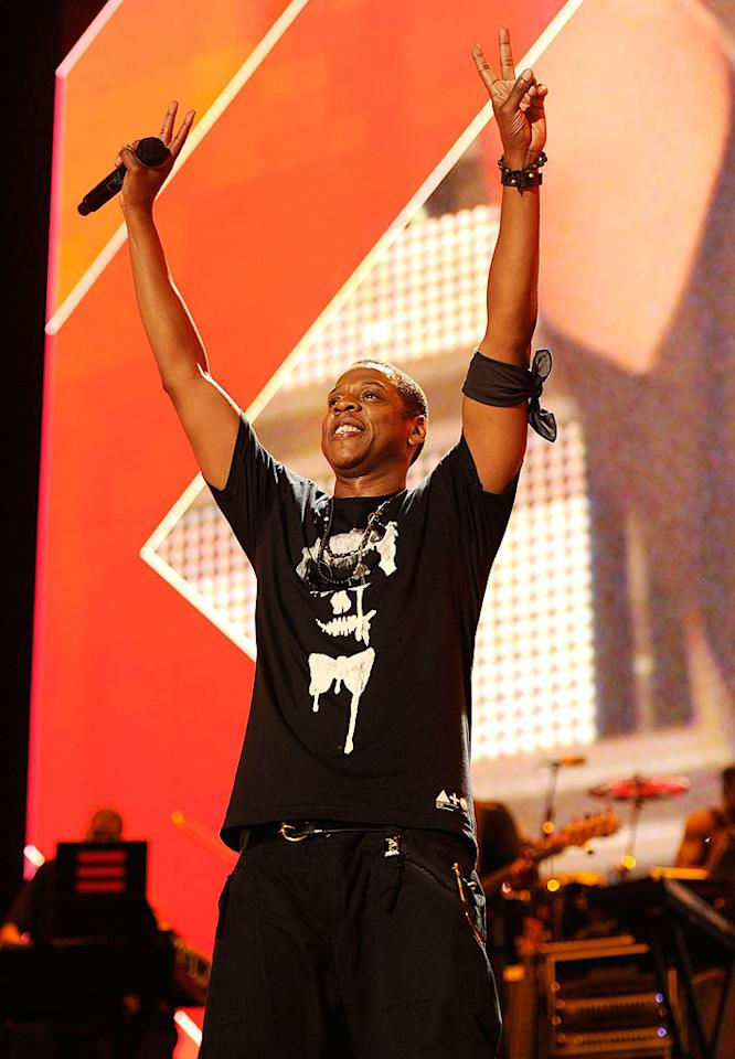 "Jay-Z got the party started by performing such hits as ""Empire State of Mind,"" ""Big Pimpin',"" ""99 Problems,"" and ""Hard Knock Life."" The rapper, who was joined onstage by Young Jeezy for a couple of tunes, told the crowd, ""I like how this is going, Detroit. I feel at home tonight."" Kevin Mazur/<a href=""http://www.wireimage.com"" target=""new"">WireImage.com</a> - September 2, 2010"